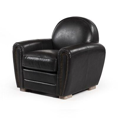 Paris Club Chair in Distressed Black Leather Free Shipping!