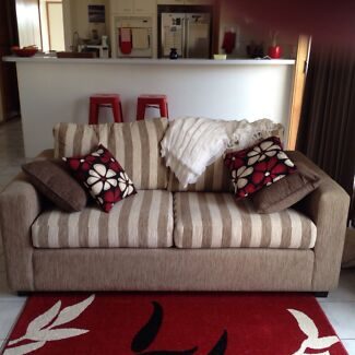 Sofa Bed Innerspring Taupe and Cream as new