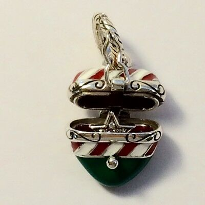 BRIGHTON- Candy Cane Heart Xmas Charm Hinged Opening w/ Star Inside-Discontinued - Candy Charm