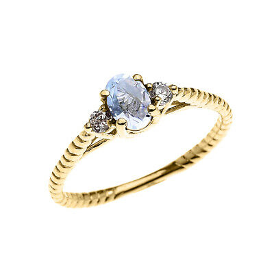 Solid Gold Dainty Aquamarine Solitaire Rope Design Engagement Ring