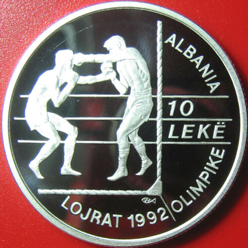 1992 ALBANIA 10 LEKE .84oz SILVER PROOF BOXERS SUMMER OLYMPICS BOXING RARE COIN!