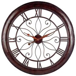 Rustic Contemporary Oversized Open Face Iron Wall Clock 30.25 Rust Finish