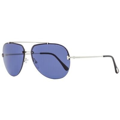 Tom Ford BRAD - 02 FT 0584 Shiny Palladium / Blue  Aviator (Tom Ford Aviator Glasses)