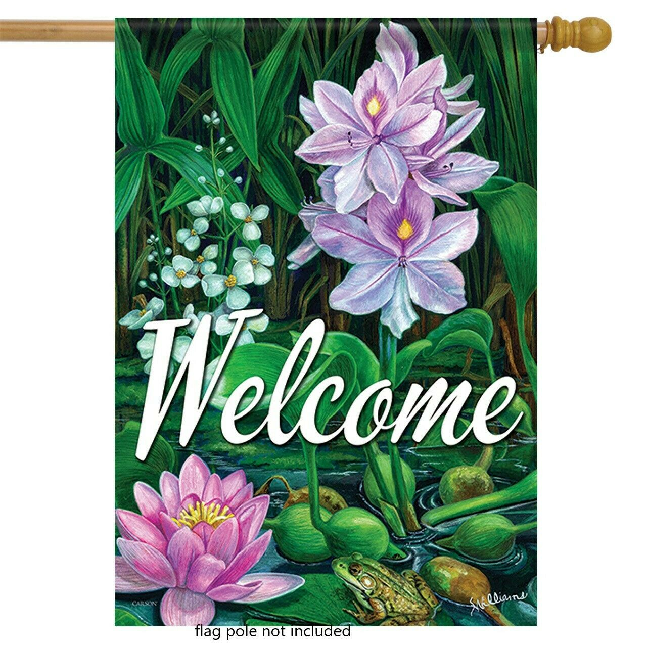"""Spring Water Garden Frog Welcome House Flag  28"""" x 40"""" Doubl"""