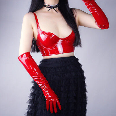 Shine Red Gloves Faux Patent Leather Extra Long 50cm Cosplay Costume Wedding](Red Long Gloves)