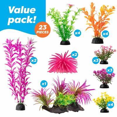 23 Pcs Color Realistic Decorative Aquarium Fish Tank Ornament Plastic -