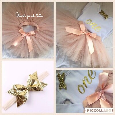 Luxury Baby Girls First 1st Birthday Outfit Tutu Skirt Blush Pink Cake Smash