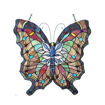 "Vintage Butterfly Design Stained Glass Window Panel 22"" Tall x 22"" Wide"