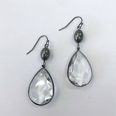 Teardrop Shape Earrings (Hematite Tone Teardrop Shape Clear Color Stone Drop Dangle Hook Metal Earrings )
