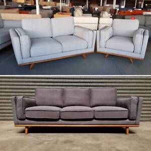 ROWLEY - NEW Timber and Fabric Sofa Set - 50% off RRP Dandenong South Greater Dandenong Preview