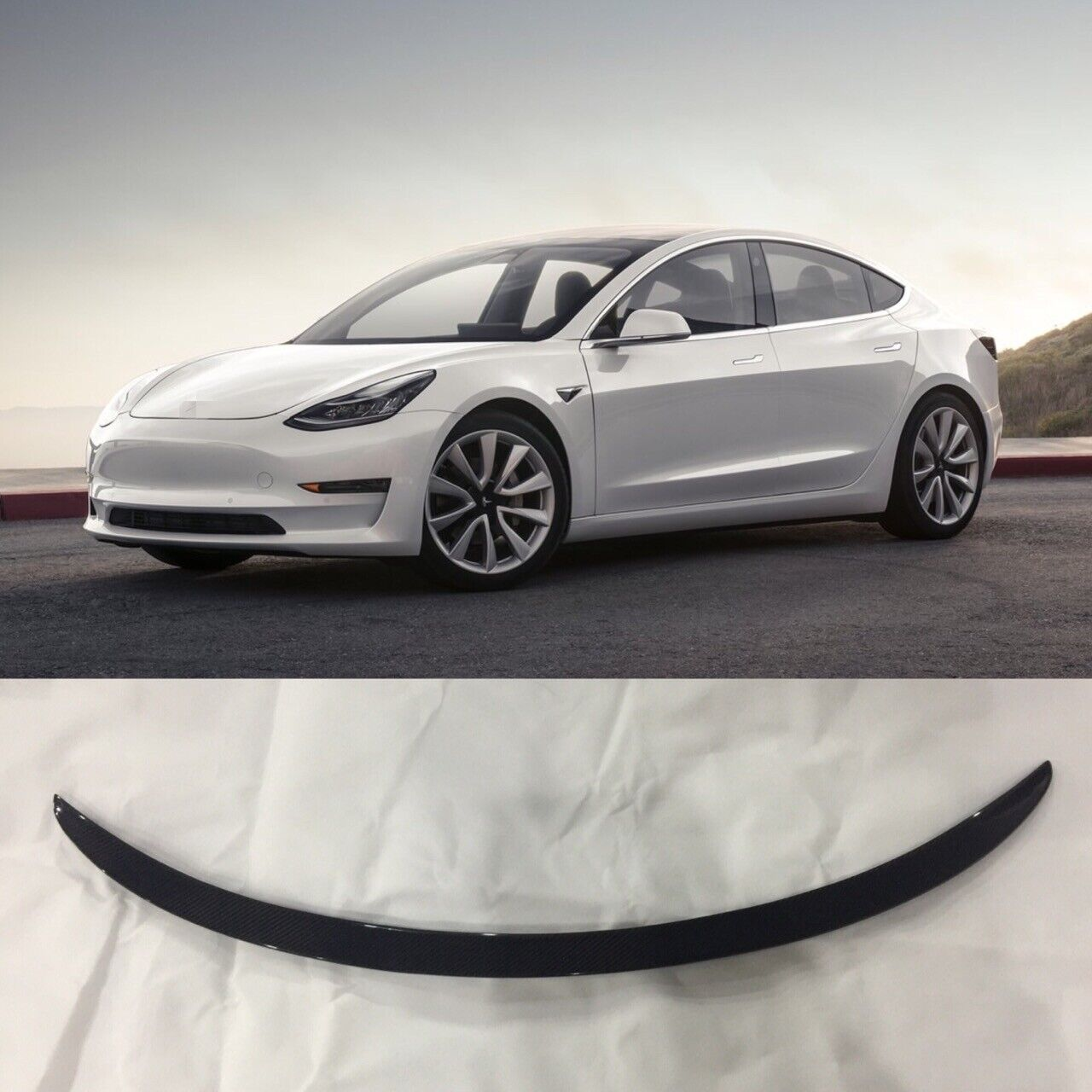 Matte Carbon Fiber Fits 17-19 Tesla Model 3 IKON Style Trunk Spoiler Wing