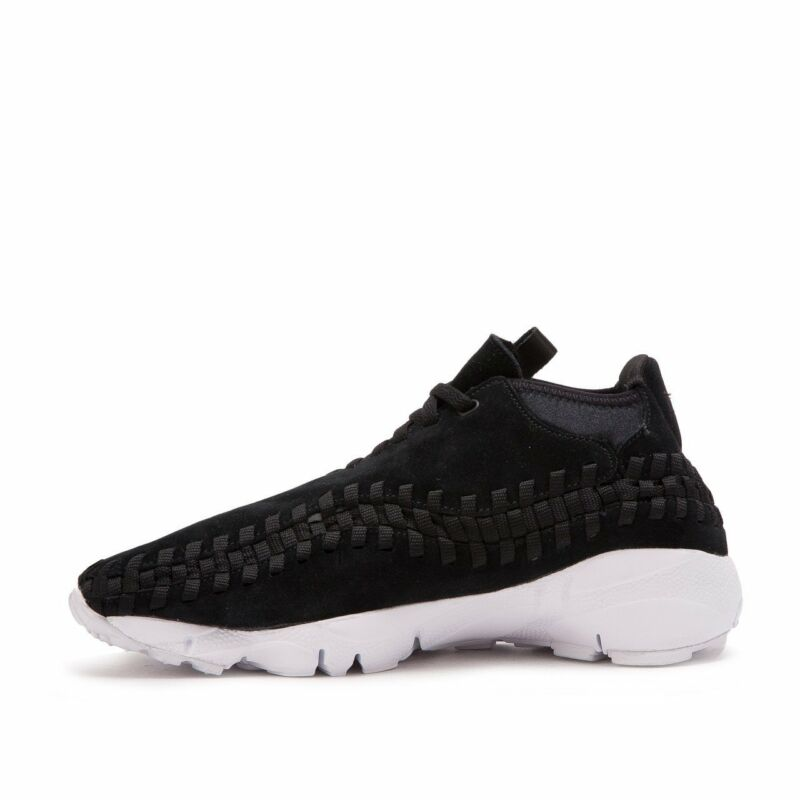 info for 97fa9 5a017 Nike Men Air Footscape Woven Chukka Suede Shoe Black White 443686-004  US7-11 04