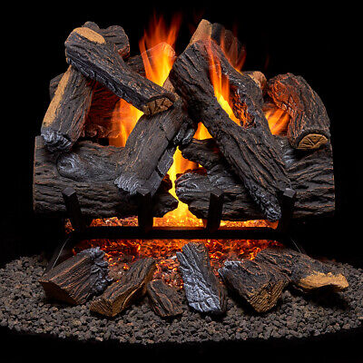 Duluth Forge Vented Natural Gas Fireplace Log Set 18 in, 45,000 BTU,Heartlan Oak Vented Natural Gas Fireplaces