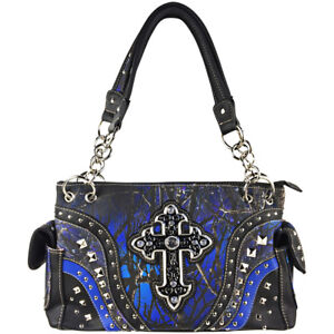 bb34f390a9 MUDDY GIRL CAMO BLUE STUDDED RHINESTONE CROSS SHOULDER HANDBAG CONCEALED  CARRY