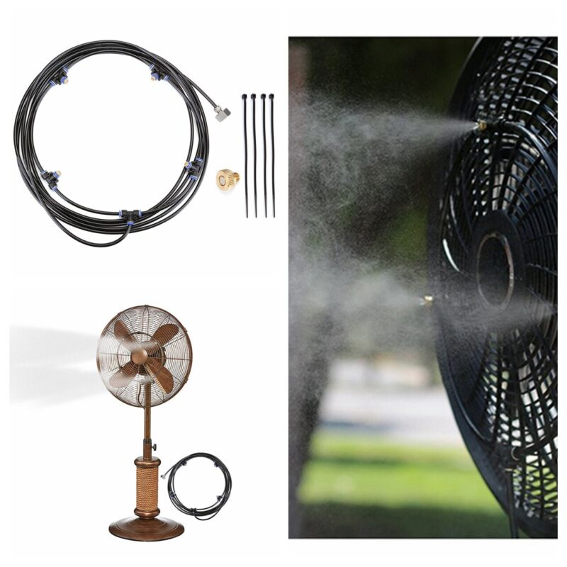 16.4FT Outdoor Cooling Misting System Fan Mister Water Mist Spray Patio Garden