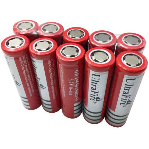 10 X 18650 Batteries 6800mAh 3.7V Rechargeable Li-ion Flat Top Battery Torch