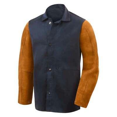 Steiner 1260 Hybrid Fr Cotton Leather Sleeve Welding Jacket Bluerust Small