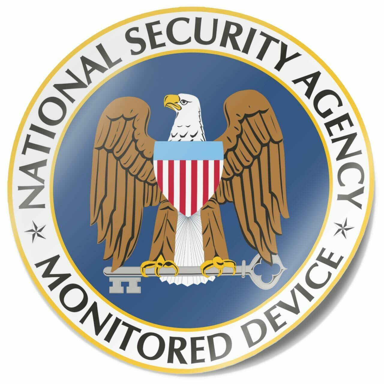 Aufkleber - National Security Agency Monitored Device - NSA - für Laptop ua.