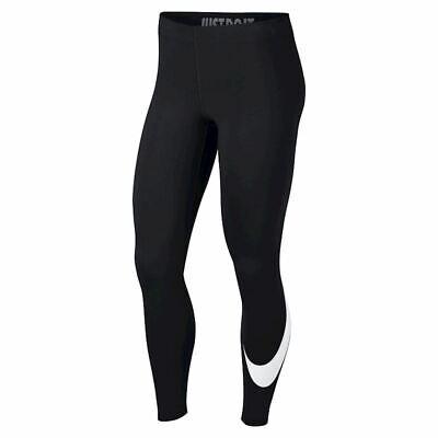 Nike Women Leggings Fitness Logo Black Swoosh XS S M L Tight Fit Sport Jogging