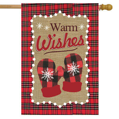 """Warm Wishes Winter Burlap House Flag Mittens Snowflakes 28"""""""