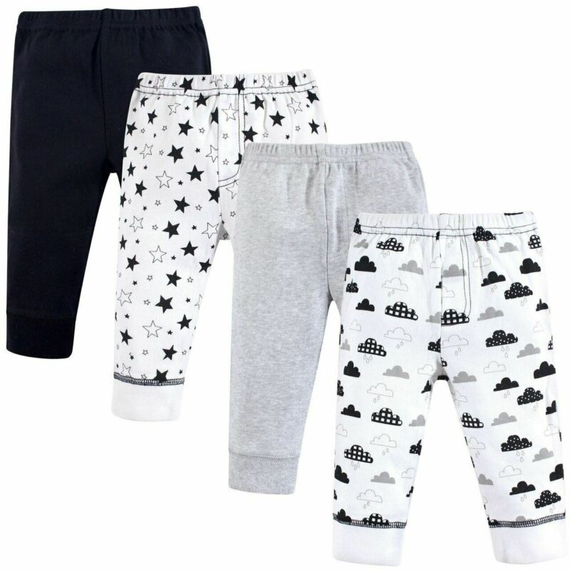 Hudson Baby Boy and Girl Cotton Tapered Ankle Pants, 4-Pack, Moon and Back