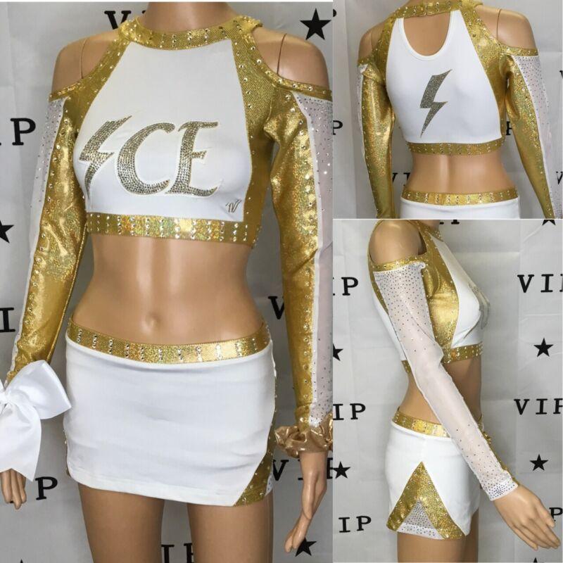 "Real Cheerleading Uniform  Allstar Lady Lightning Ice Top 34""Skirt 28-30""waist"