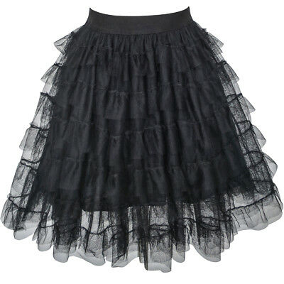 Black Lace Tutu Skirt (Sunny Fashion Girls Skirt Black Lace Tiered Tutu Dancing Dress Age 7-14)
