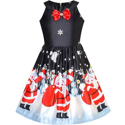 Santa Dress Girl (US STOCK! Flower Girl Dress Black Christmas Santa Snow Xmas Tree Party Size)