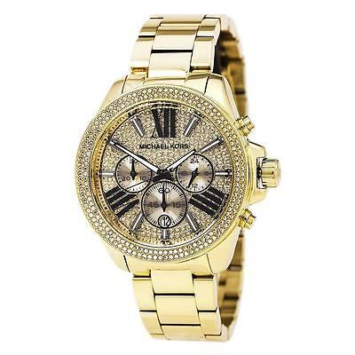 Michael Kors MK6095 Women's Wren Pave Chronograph Watch Gold-tone