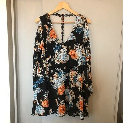 Kiss The Sky Floral Vintage Print Swing Dress With Cut Out Sleeves