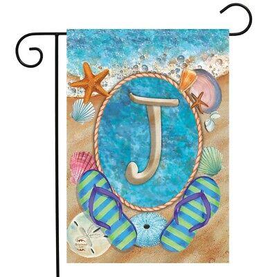 Summer Monogram J Beach Garden Flag Summer Monogram Garden Flag