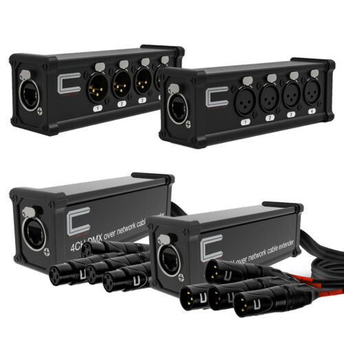 4 Channel 3-Pin XLR Male, Female to Single Ethercon - Compact Cat6 Multi Network
