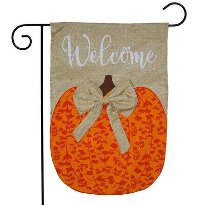 "Autumn Pumpkin Burlap Garden Flag Welcome 12.5"" x 18"" Briarw"