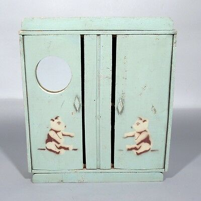 Vintage French Art Deco Wooden Doll Furniture Armoire, Blue, Mirror, Teddy Bears