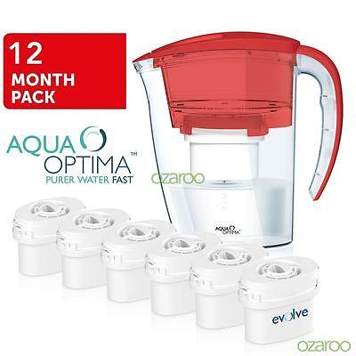 Aqua Optima RED Fridge Water Filter Jug + 6 Refill Cartridge & fits BRITA MAXTRA