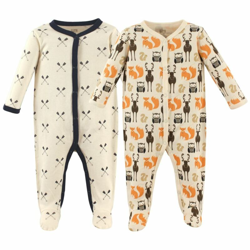 Hudson Baby Boy Sleep and Play, 2-Pack, Woodland Creatures