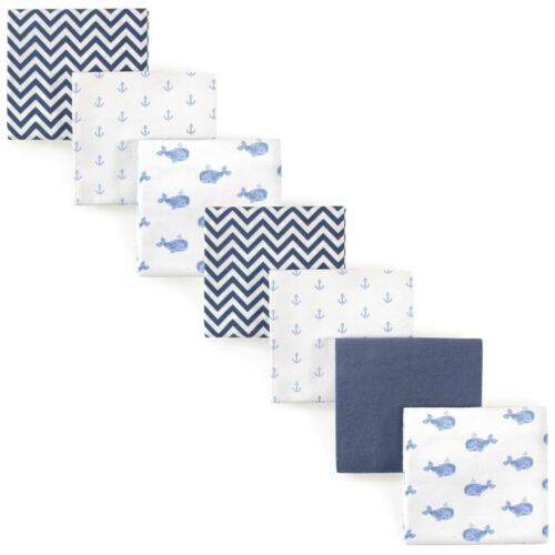 Hudson Baby Unisex Baby Flannel Receiving Blankets 7-Pack, B