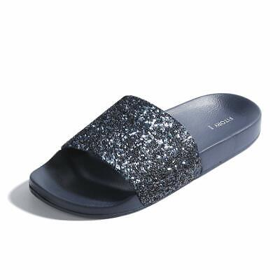 FITORY Women Slides, Sparkly Glitter Arch Support Slippers with Bling Slip on Fl
