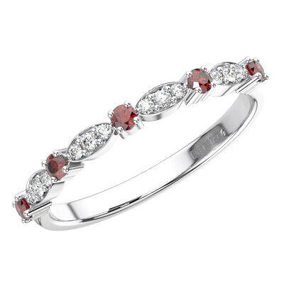 0.25 Carat Round Cut Diamond & Ruby Stone Half Eternity Ring in 950 Platinum