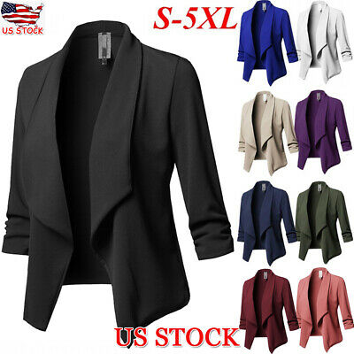 Women Slim Casual Formal Blazer Jacket Top Outwear Long Sleeve Career Short Coat