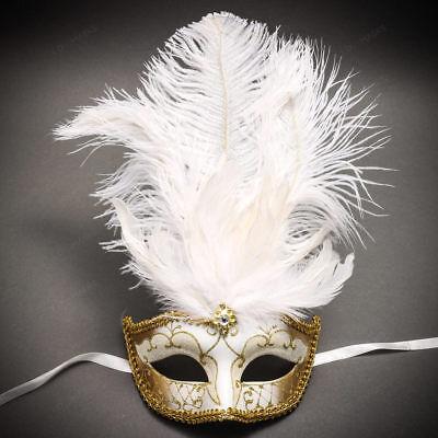 ILOVEMASKS Venetian Gold Mardi Gras Black White Feather Masquerade Party Mask - Black Feather Masquerade Mask