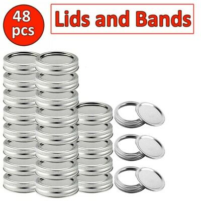 48PCS Regular Mouth Canning Jar Lids And Rings Split-Type And Leak Proof 100%