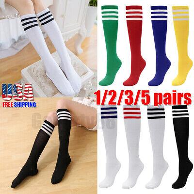 Women Men Striped Knee High Stockings Soccer Run Sport Striped Long Tube Socks