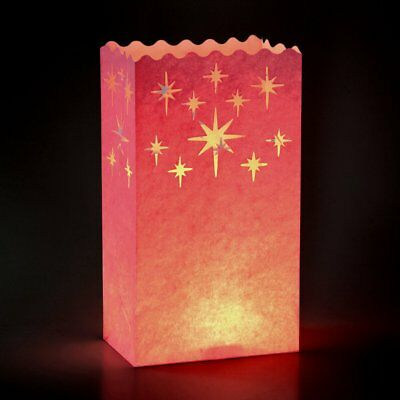 Gift House International Candle Lantern Bags, Pink Stars ()