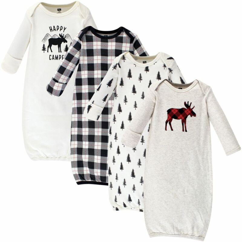 Hudson Baby Cotton Gowns, Moose, 4-Pack, 0-6 Months