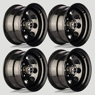 """Set 4 15"""" Vision 85 Soft 8 Gloss Black Steel Wheels 15x10 5x5.5 -39mm 5 Lug"""
