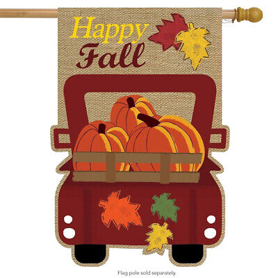 """Happy Fall Pickup Burlap House Flag Autumn Give Thanks 28"""" x"""