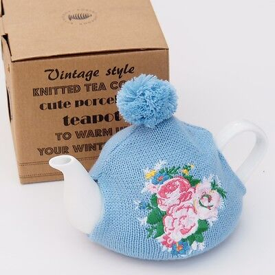 Разное White TEAPOT with Knitted Floral