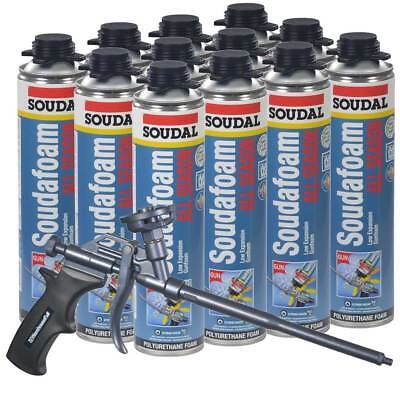 Soudal Kit 12-24 Oz Cans All Season Window Door Foam Ptfe Coated Foam Gun