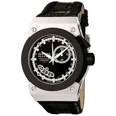 Invicta 6447 Reserve Mid-Size Russian Diver Akula GMT Leather Strap Watch
